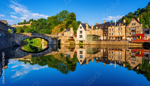 Fototapeta The Old bridge in the port of Dinan town, France obraz