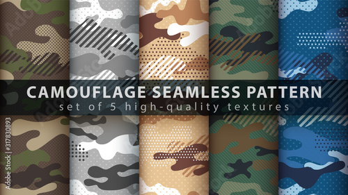 Fotografía Set camouflage military seamless pattern