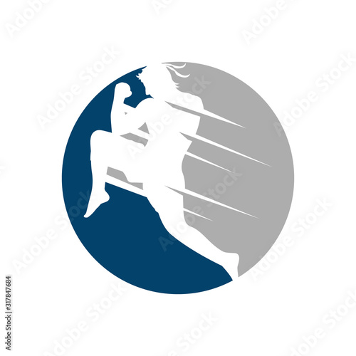 muay thai boxing kickboxing logo design vector illustrations Fototapete