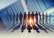 Leinwanddruck Bild - Our successful business team . Mixed media