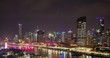 Panorama view of time elapse sequence of fire works at Brisbane city from blue hour to dark with the Southbank Parklands in foreground from a high angle,Brisbane,Queensland,Australia