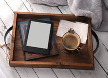 Rustic Wooden Tray With A Book...