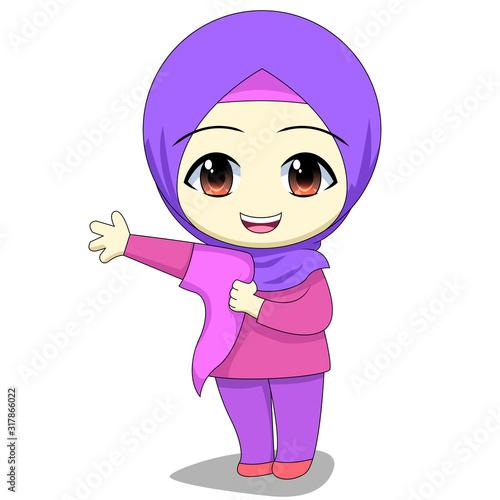 Chibi Muslim female cartoon characters Canvas Print