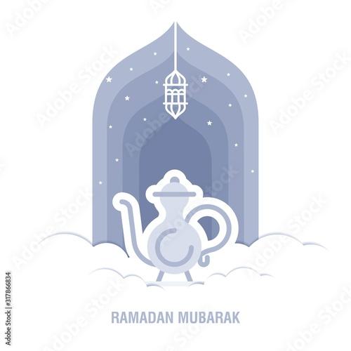Slika na platnu Ramadan Kareem islamic design crescent moon and mosque dome silhouette with arab