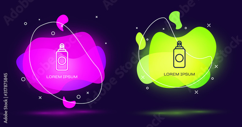 Line Spray can for air freshener, hairspray, deodorant, antiperspirant icon isolated on black background Canvas Print