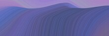Decorative Horizontal Banner With Dark Slate Blue, Pastel Purple And Light Pastel Purple Colors. Dynamic Curved Lines With Fluid Flowing Waves And Curves