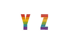 Rainbow Font Alphabet Y, Z Made Of Popsicle Stick