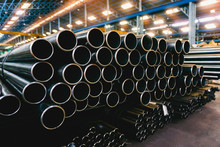High Quality Galvanized Steel Pipe Or Aluminum And Chrome Stainless Pipes In Stack Waiting For Shipment  In Warehouse