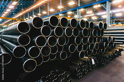 Fotografie, Obraz high quality Galvanized steel pipe or Aluminum and chrome stainless pipes in sta
