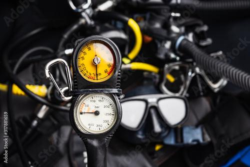 Fototapeta  pressure regulator  , console diving regulator with Scuba Diving Gear background obraz