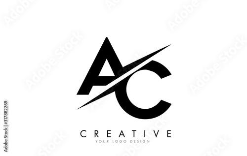 Photo AC A C Letter Logo Design with a Creative Cut.