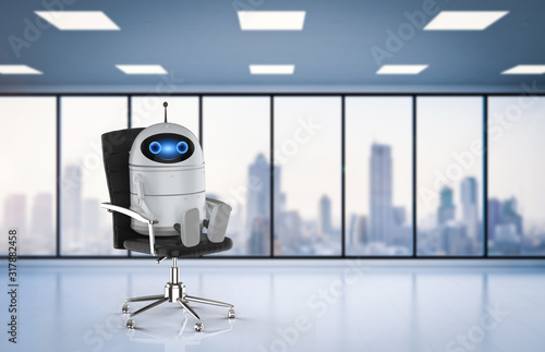 Android robot in office Wallpaper Mural