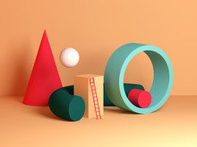 Abstract Colorful Still Life Installation, Primitive Geometric Shapes
