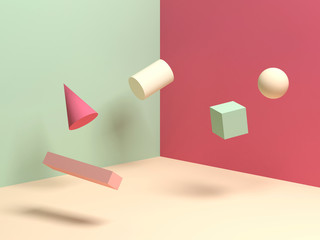 Abstract colorful still life installation with levitating primitive geometric shapes
