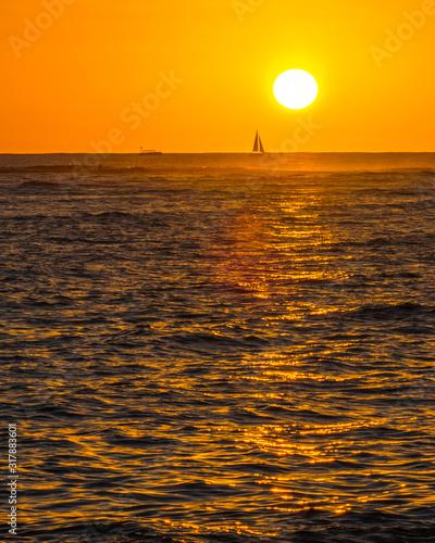 Sunset on Waikiki Beach Honolulu Hawaii