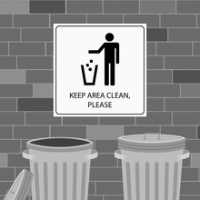 Keep Clean Icon Or Poster On A...