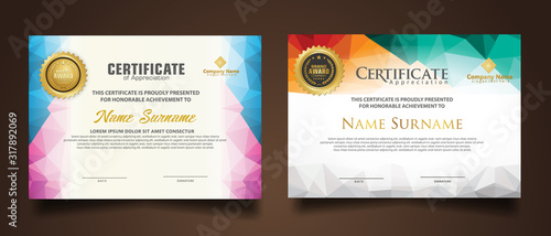Obraz Set certificate template with dynamic and futuristic polygonal color and modern background. - fototapety do salonu