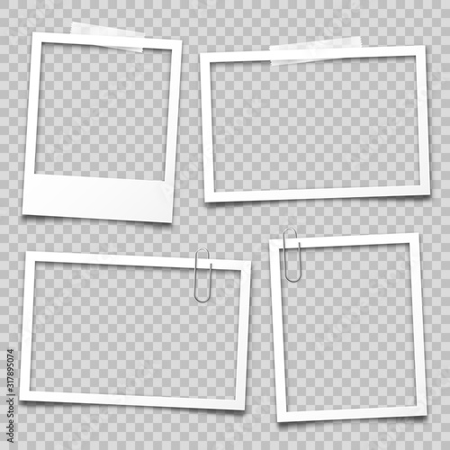 Obraz Realistic empty photo card frame, film set. Retro vintage photograph with transparent adhesive tape and paper clip. Digital snapshot image. Template or mockup for design. Vector illustration. - fototapety do salonu