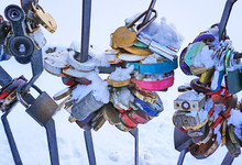 Close-up On Locks Of Hearts In...