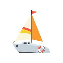 Cute Sailboat Icon For Banner,...