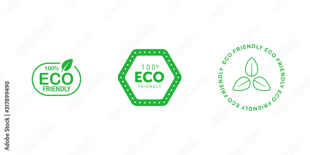 Fototapeta Set of various eco friendly 100 percent green badges with tree leaf. Design element for packaging design and promotional material. Vector illustration.