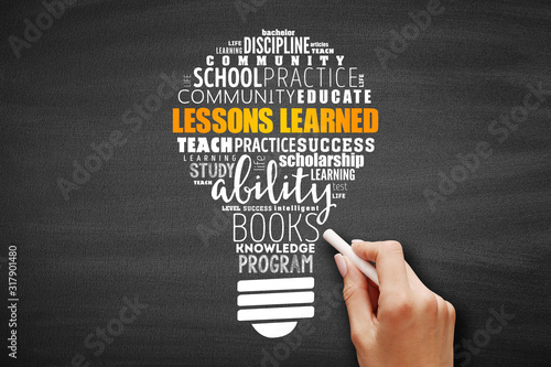 Fototapeta Lessons Learned light bulb word cloud collage, education concept background