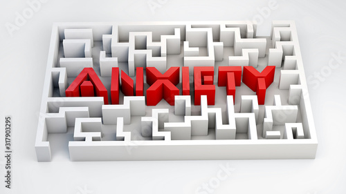 anxiety maze , Maze, 3d maze, anxiety  concept, anxiety labyrinth Wallpaper Mural