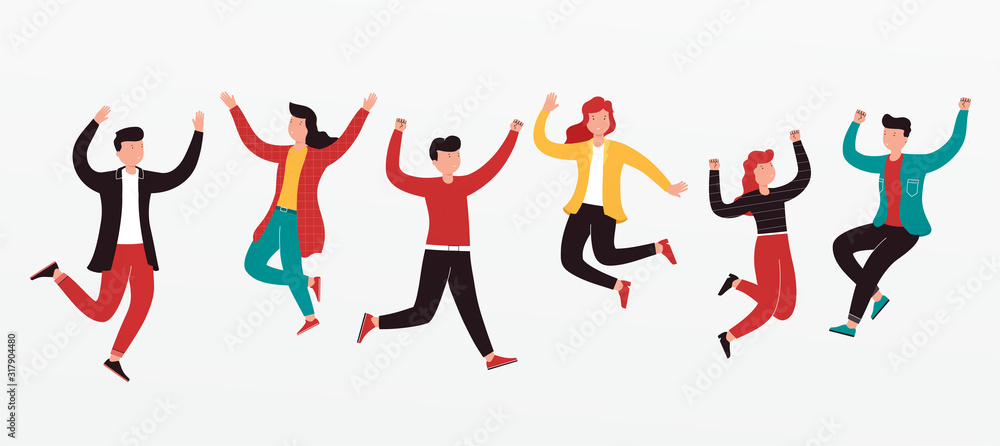 Fototapeta Cheerful group of diverse young people team jumping celebrating a victory. Concept of happy successful people in casual wear.