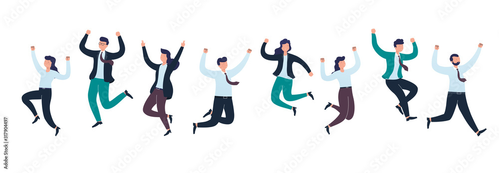 Fototapeta Cheerful group of diverse business people team jumping celebrating victory together. Concept of happy successful people.