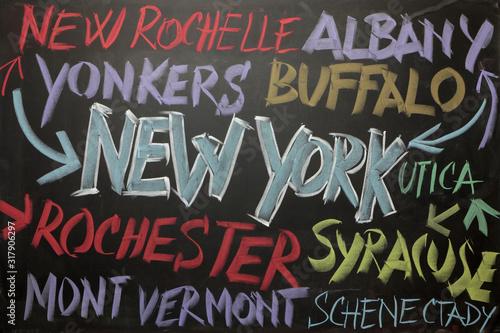 New York e i suoi quartieri sulla lavagna Fototapet