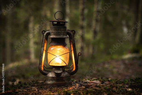 Vintage old lantern lighting in the dark forest Wallpaper Mural