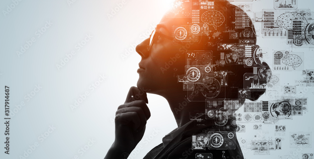 Fototapeta ai, analysis, artificial intelligence, automation, big data, brain, business, cg, cloud computing, communication, computer graphics, concept, creative, cyber, deep learning, digital transformation