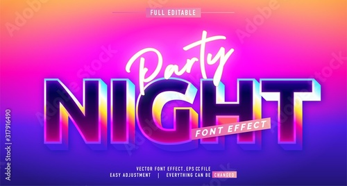 Photo premium text effect editable vector template, neon night style, modern look, wit
