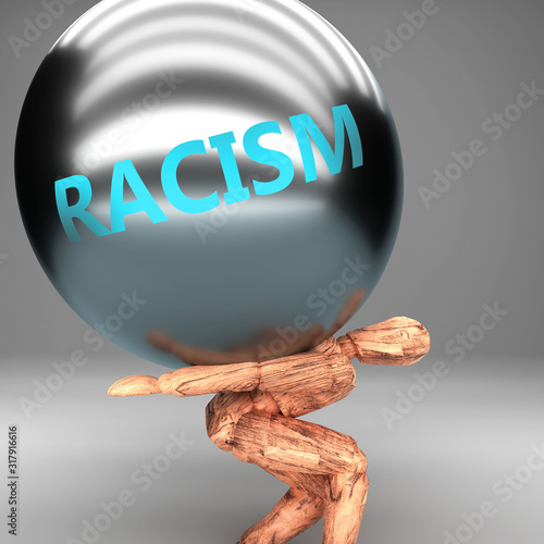 Racism as a burden and weight on shoulders - symbolized by word Racism on a stee Tablou Canvas