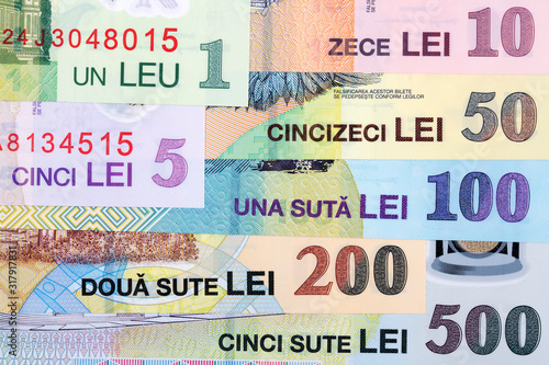 Valokuva Romanian money - leu a business background