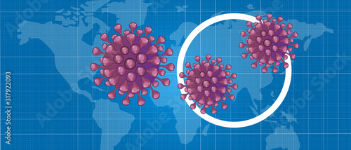 Corona virus deadly pandemic infection spread in china with map flu outbreak Canvas Print