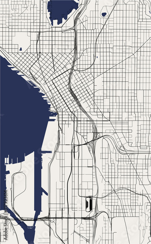 Photo map of the city of Seattle, Washington, USA