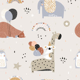 Fototapeta Child room - Seamless childish pattern with party animals . Creative scandinavian kids texture for fabric, wrapping, textile, wallpaper, apparel. Vector illustration