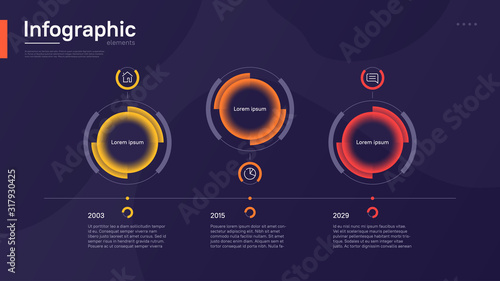 Obraz Stylish colorful vector timeline infographic template with circular graphic elements on a deep blue background - fototapety do salonu