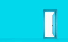 Cyan Painted Wall With An Open...