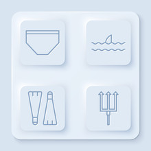 Set Line Swimming Trunks, Shark Fin In Ocean Wave, Rubber Flippers For Swimming And Neptune Trident. White Square Button. Vector