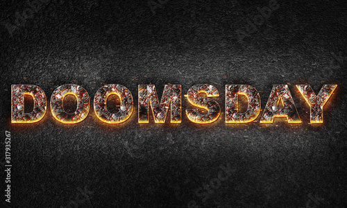 Fotografie, Tablou Word Doomsday is written with burning text effect on dark textured background