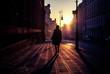 REAR VIEW OF SILHOUETTE WOMAN WALKING ON STREET IN CITY
