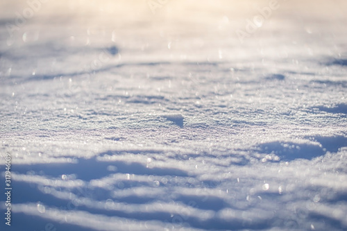 Fényképezés Macro background of fresh snowflake texture