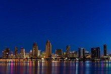 ILLUMINATED San Diego CITY Waterfront AT Dawn