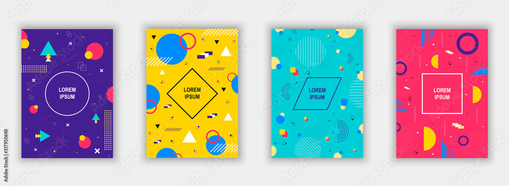 Fototapeta Set of modern memphis style covers. Colorful geometric background can be used brochure design, flyer, web banner, ads poster, magazine, flat cover for web. Vector illustartion.