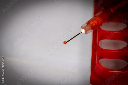 Fotografie, Obraz Doctor with blood sample and field test kit equipment for coronavirus