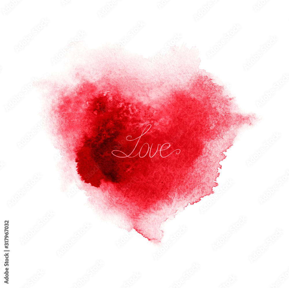 Abstract red watercolor heart .Valentine's day background.