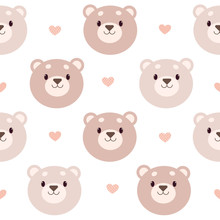 The Seamless Pattern Of Bear And Heart On The White Background. The Character Of Cute Bear With Heart And Polka Dot Heart. The Character Of Cute Bear In Flat Vector Style.