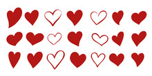 Set Of 21 Different Simple Red Hearts Isolated On White For Valentines Day Card Or T-shirt Design. Hand Drawn Style. Vector Illustration.